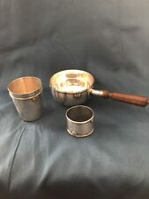 VINTAGE FRENCH EMILE PUIFORCAT STERLING SILVER CASSEROLE, CUP, NAPIKN HOLDER SET