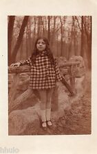 BJ225 Carte Photo vintage card RPPC Enfant mode fashion chapeau manteau vichy