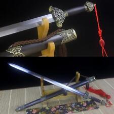 Handmade Damascus Steel Blade Chinese Sword Tai Chi Jian 太极剑 Ebony Sheath Sharp