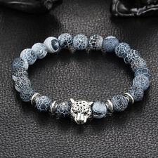 Antique Silver Plated Buddha Leopard head Bracelet Lava Natural Stone Men Women