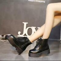 Womens Leather High Flat Heel Shoes Platform Zipper Lace Up Ankle Boots Sz Ths01