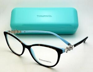TIFFANY & Co. Eyeglasses TF 2144-H-B 8134 54-16 Tortoise Blue Frames w/ Crystals