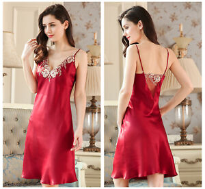 Women's Pure 100% Mulberry 19MM Silk Chemise Nightgown Lingerie Gown Red