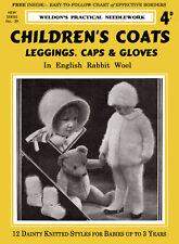 Weldon's 4D #39 c.1930 Vintage Knitting Patterns Children's Cold Weather Wear