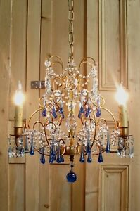 Vintage Italian Gold Beaded Blue Drops Crystals CHANDELIER - Small