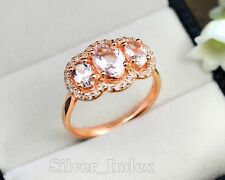 Solid 14K Rose Gold Plating Natural Oval Morganite Gemstone Promise Ring For Her