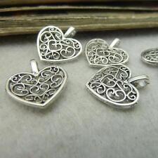 50 Tibet Silber Antiksilber Platt Herzen Anhänger Charms Beads 16x14mm