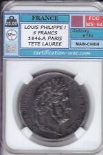 5 FRANCS LOUIS PHILIPPE I 1846.A PARIS FDC-MS:64!!!