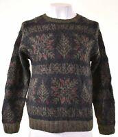 EDDIE BAUER Mens Crew Neck Jumper Sweater Large Multicoloured Nordic Wool KE04