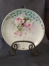 """VINTAGE  WALL DISPLAY 9"""" PORCELAIN PLATE PINK WHITE ROSES, Germany"""