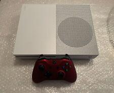 Microsoft Xbox One S 1TB Console - White Console w/ Red Controller + Cords -READ