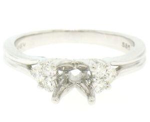 NEW 14k White Gold Engagement Ring Semi Mount Mounting w/ 0.35ctw Round Diamonds