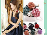 Women Rose Flower Pearl Ponytail Holder Hair-Band Accessories Rope Elastic