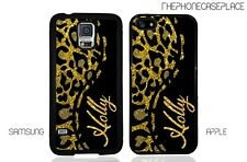 Leopard Skin Gold Personalized Phone Case for Apple or Samsung Phone Case Cover