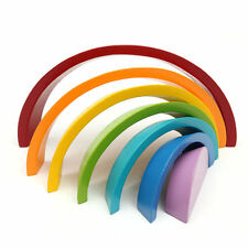 7 Colors Child Kids Wooden Stacking Rainbow Shape Educational Toy Christmas Gift