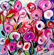 Broadway Original Acrylic 3x3 in. Colorful Abstract Floral Flowers painting
