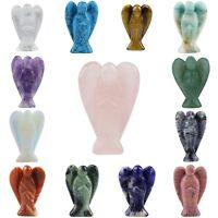 Carved Crystal Gem Guardian Angel Figurine Pocket Statue Healing Ornament 1.5''