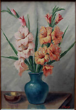 Gino Fasciotti 1930's oil Still life with Gladioli South African to $4000.00