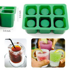 6-Cups Silicone Shooters Ice Cube Glass Shot Freeze Mold Maker Mould Tray Party
