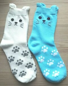 Pawprints Ankle Socks with cat face/ears UK4-7 (Blue or White)