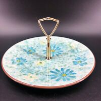"Stangl Pottery Rare Stardust Pattern 10"" Round Serving Plate with Handle Blue"