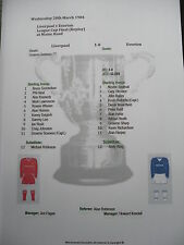 1983-84 League Cup Final (Replay) Liverpool v Everton matchsheet