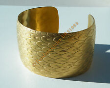 Bracelet Bombé Ouvert Bangle Acier Inox Doré Or Aile Plume Ange 40mm Ajustable