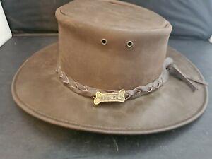 Genuine  Australian Driza-Bone Soft Leather hat with band badge hat - Size Small
