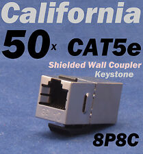 50 X pcs Lot CAT5e Shielded Inline RJ45 Keystone Wall Coupler Jack Adapter 8P8C