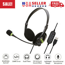 USB Headset with Noise Cancelling Mic Soft Comfortable Lightweight for PC/Laptop