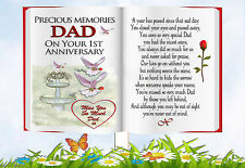 DAD 1ST ANNIVERSARY BOOK SHAPED MEMORIAL  GRAVESIDE CARD & FREE HOLDER