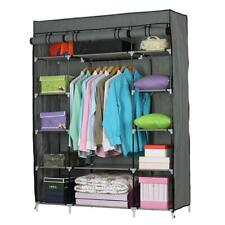 Closet Wardrobe Clothes Rack Ample Storage Space Organizer Shelves Gray