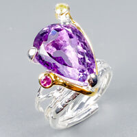 Vintage14ct+ Natural Amethyst 925 Sterling Silver Ring Size 8/R124933