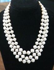 Vintage Textured Three Row White Beaded Necklace Jewelry Lot F