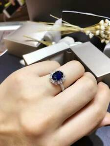 3.50Ct Oval Cut Blue Sapphire Halo Engagement Wedding Ring 14K White Gold Finish