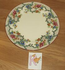 "K)VINTAGE ROYAL CAULDON VICTORIA (RED TRIM) FLORAL DINNER PLATE 10 1/4""DIAM"