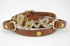 "New Studded Genuine Leather Wrap ""Love"" Bracelet With Crystals NWT #B1397"