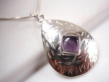 Amethyst Convex Hammered Square on Teardrop Necklace 925 Sterling Silver New