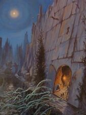 Mounted print LORD OF THE RINGS Tolkien MINES OF MORIA Hobbit Dwarves Magic elf