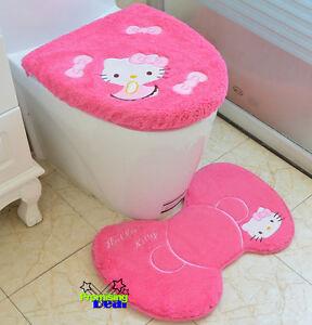 Cute Hello Kitty Bathroom Bath Mat Rug Toilet Seats Lid Cover Doormat Set Pink