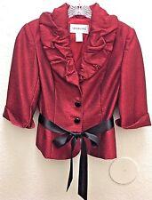 VTG VICTOR COSTA Red Shimmer Crinkle Dressy Evening Blazer Jacket Top Size 6