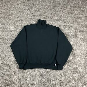 Vintage 90s Russell Athletic Made in USA Turtleneck Sweatshirt Size Large Black