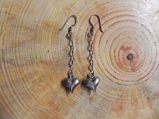 Puffed Sterling Silver .925 Heart dangle Earrings Taxco Mexico