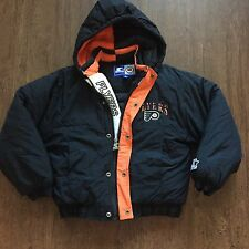 Vintage Youth Philadelphia Flyers NHL Black Orange Puffer Starter Jacket Sz S