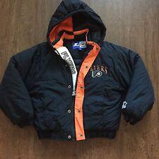 Vintage Youth Philadelphia Flyers NHL Black Orange Puffer Starter Jacket Sz S