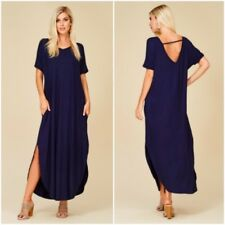NEW Large Maxi Dress Navy Blue Cut Out Low Back Jersey Short Sleeve Oversized L