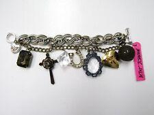 Betsey Johnson Horse Shoe, Love Charm, Cross & Jewels Charm Bracelet NEW