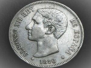 Belle pièce ARGENT de 5 Pesetas ALFONSO XII d' ESPAGNE de 1876