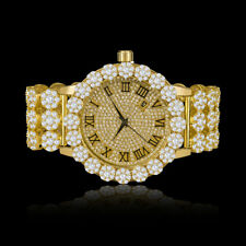 Real Diamond Yellow Gold Tone Custom Flower Roman Dial Men Watch W/Date IceHouse
