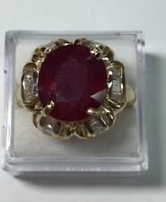 5.50 ct natural (REAL) 26- DIAMOND & RUBY ring solid 14k yellow GOLD